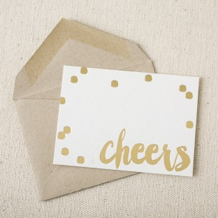 Cheers gold foil stamped gift tag from Smock