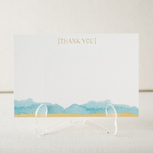 Ocean wash gold foil stamped thank you notes from Smock