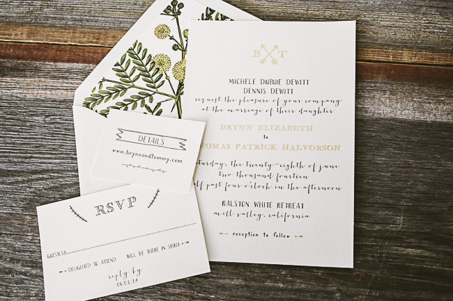Rustic wedding invitations from Smock