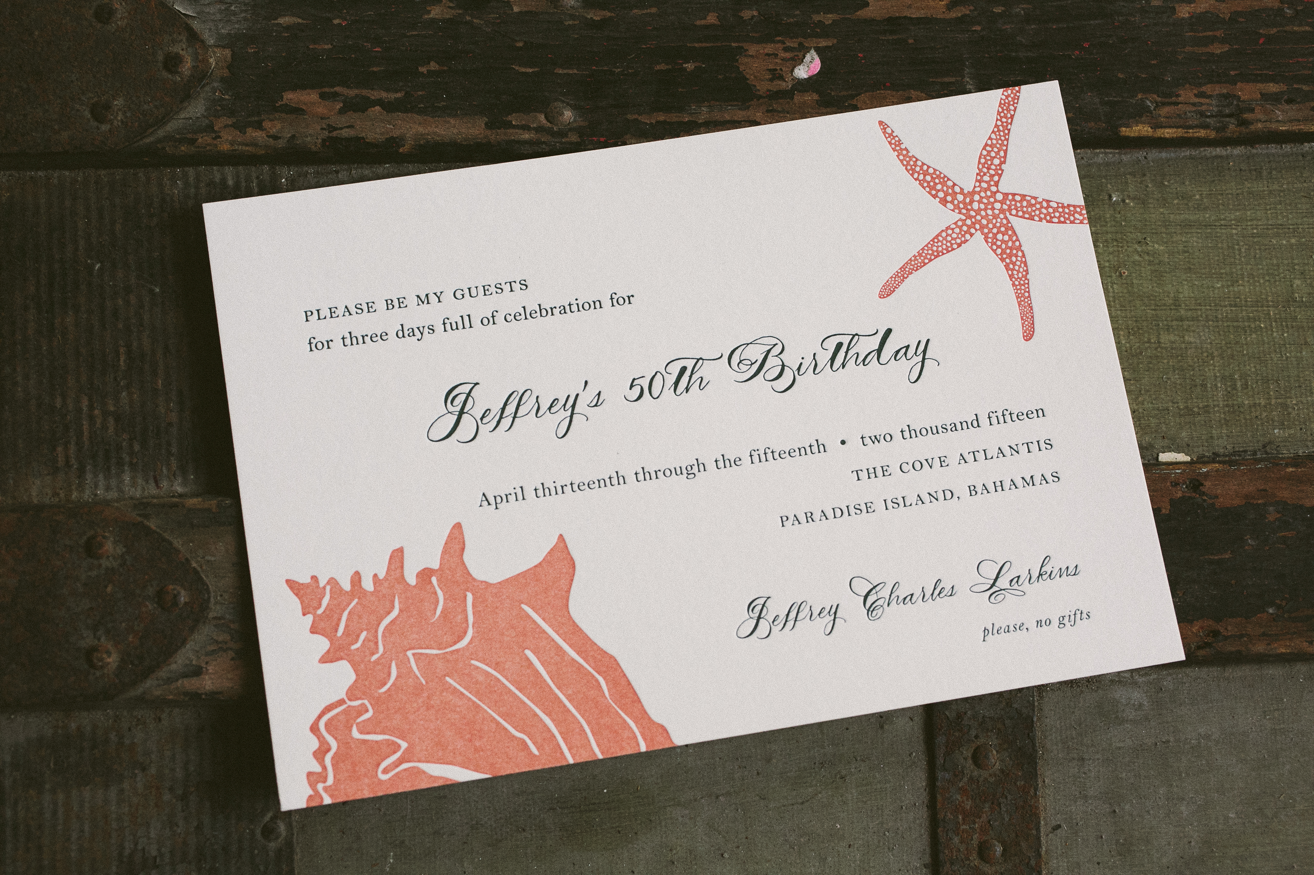 Ocean inspired, letterpress printed 50th Birthday party invitations from Smock