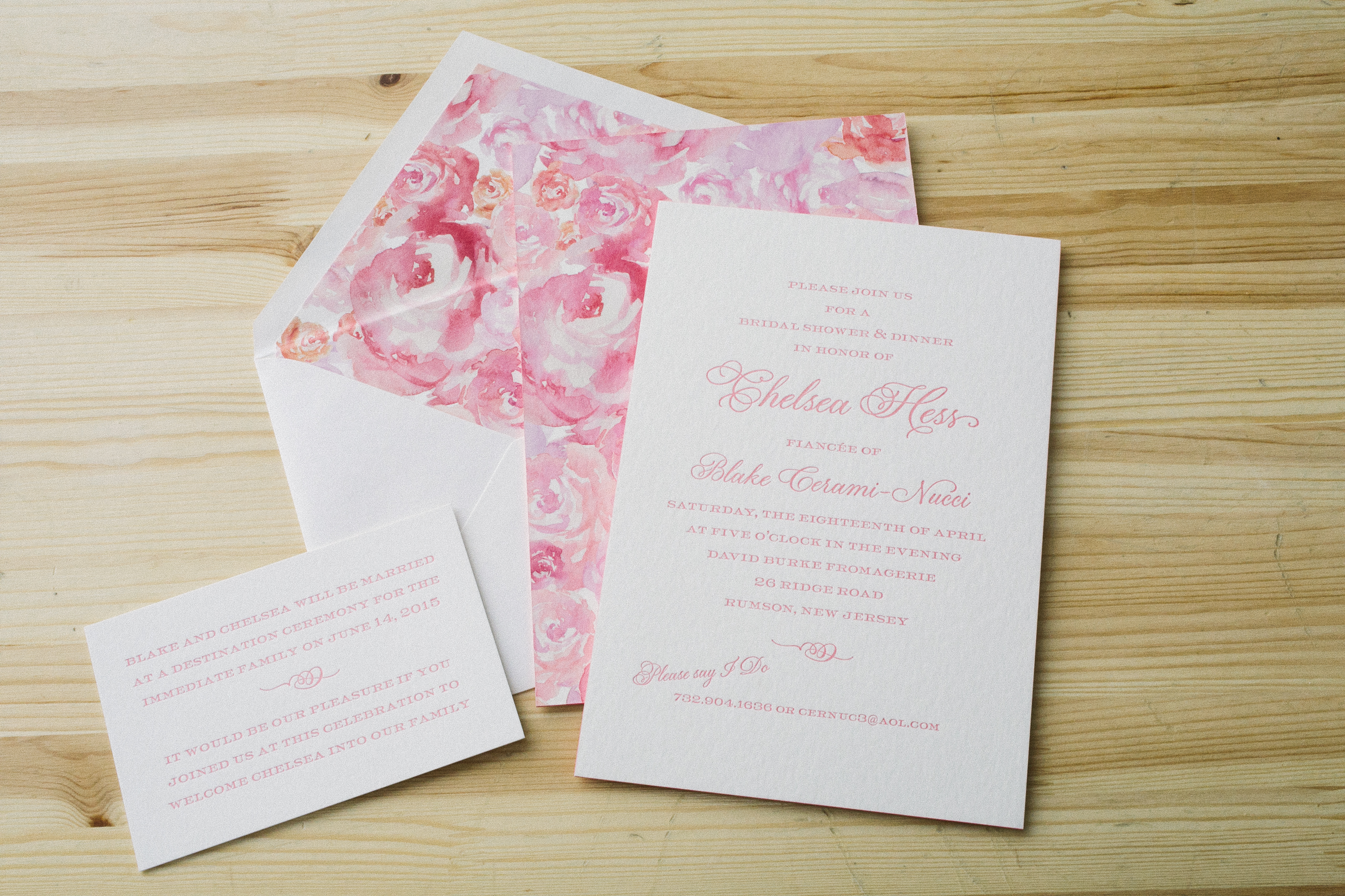 Romantic floral watercolor bridal shower invitations from Smock