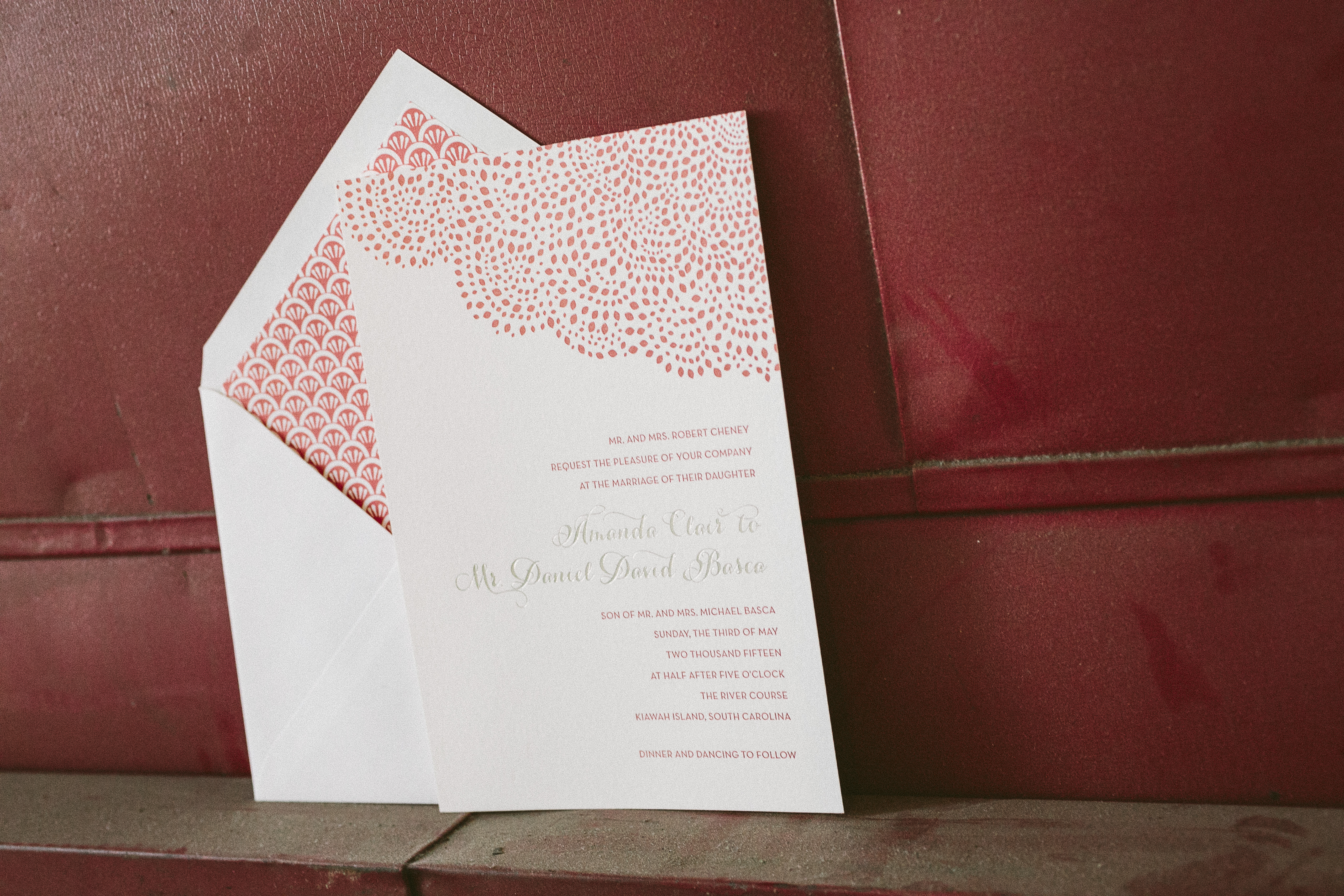 Letterpress wedding invitations and rehearsal dinner invitations by Smock