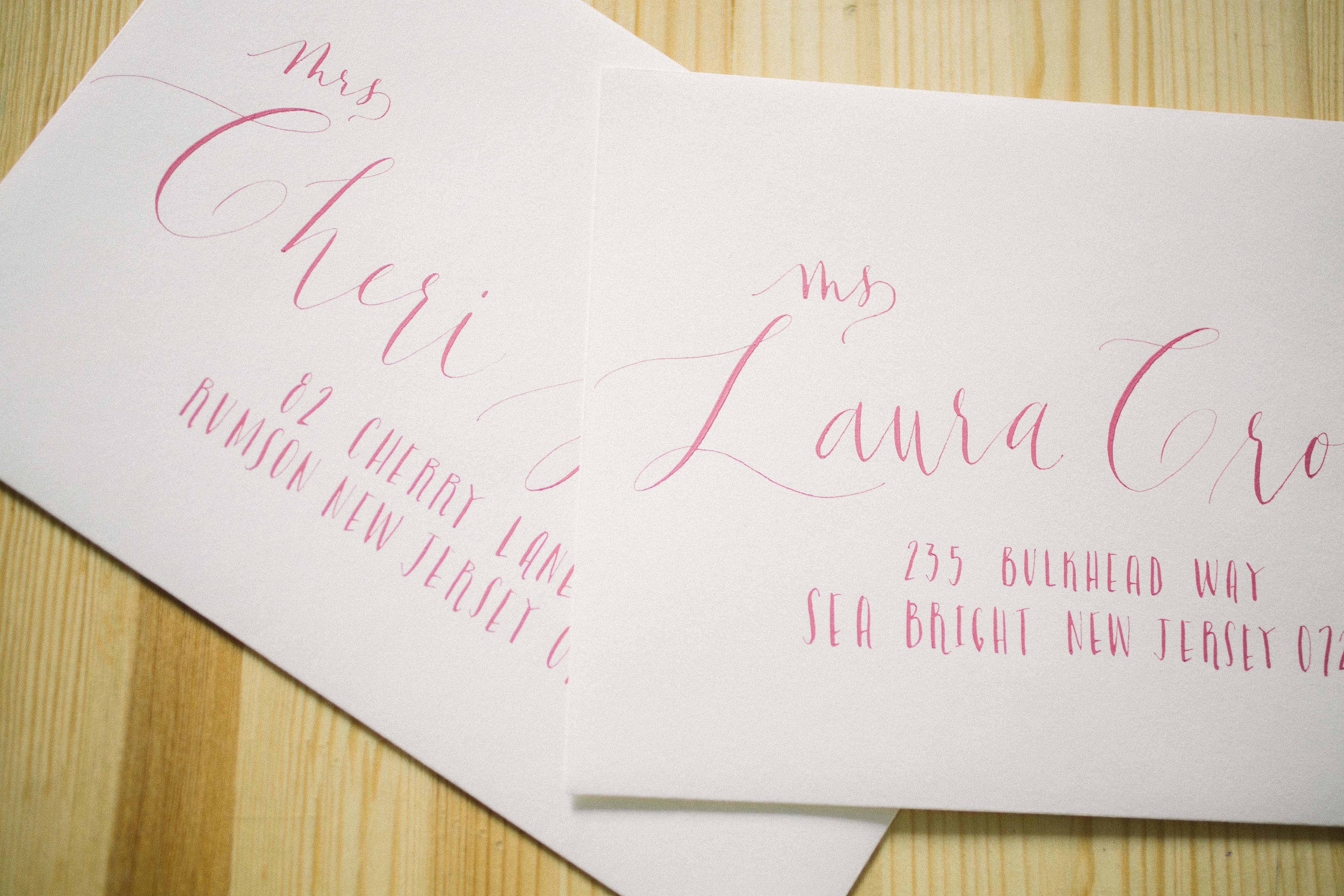 Hand calligraphed envelopes + watercolor bridal shower invitations