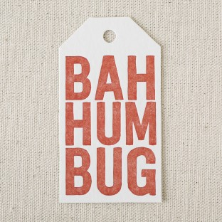 Bah Humbug letterpress die-cut gift tag from Smock