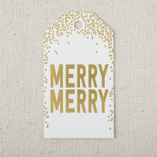 Merry merry gold foil stamped die-cut gift tags from Smock
