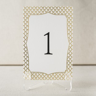 Marav gold foil stamped table cards from Smock