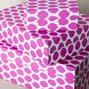 Keiko Boxes | Hot pink ikat keepsake boxes from Smock