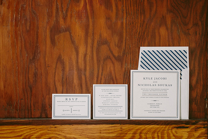 Modern navy letterpress wedding invitations from Smock