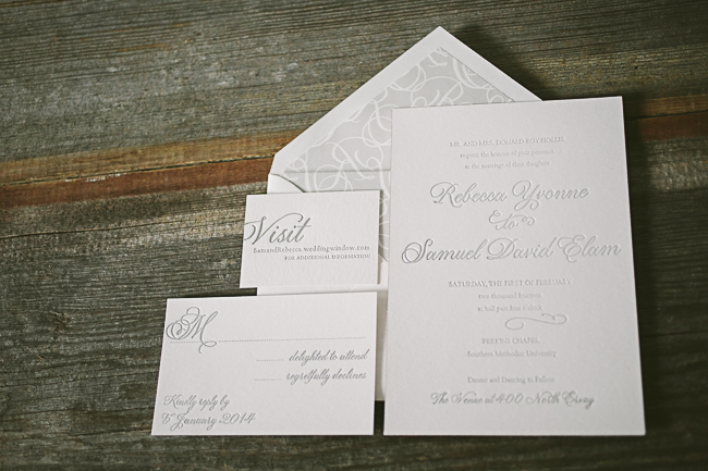 Silver foil wedding invitations from Smock