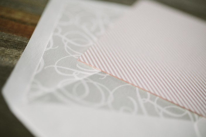 Pink patterned backing + gray monogrammed envelope liners from Smock