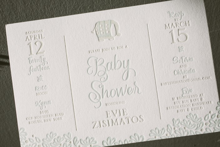 Custom letterpress baby shower invitations from Smock