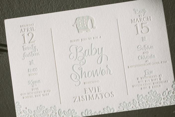 Custom letterpress baby shower invitations from Smock