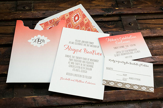 Letterpress Bat Mitzvah invitations + coral ombré sleeve from Smock