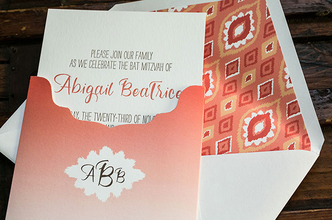 Letterpress Bat Mitzvah invitations with coral ombré sleeve from Smock