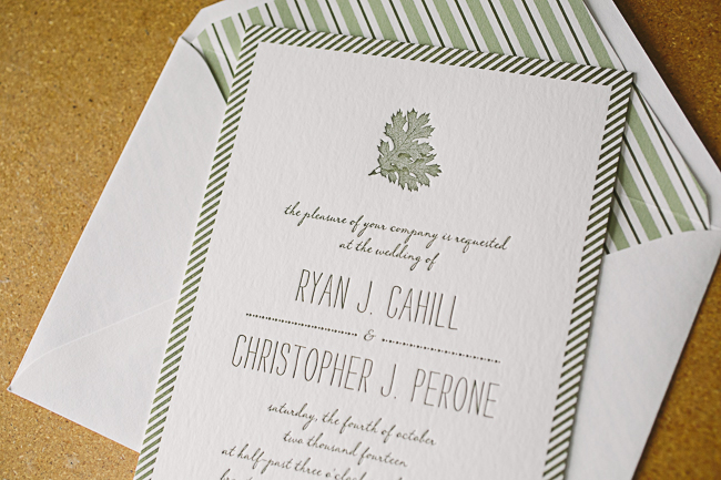 Rustic letterpress wedding invitations for a fall wedding