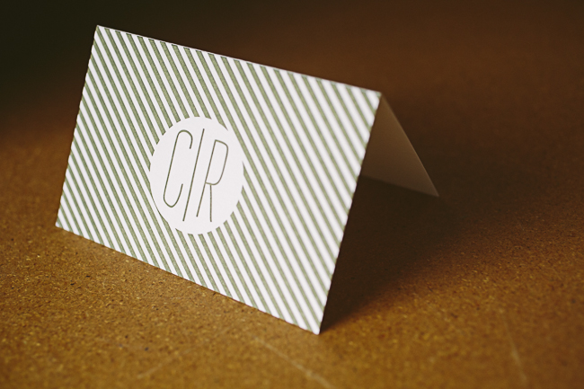 Monogrammed letterpress social notes from Smock