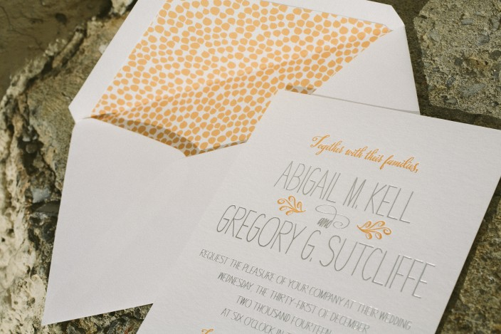 Petite letterpress + silver foil wedding invitations from Smock