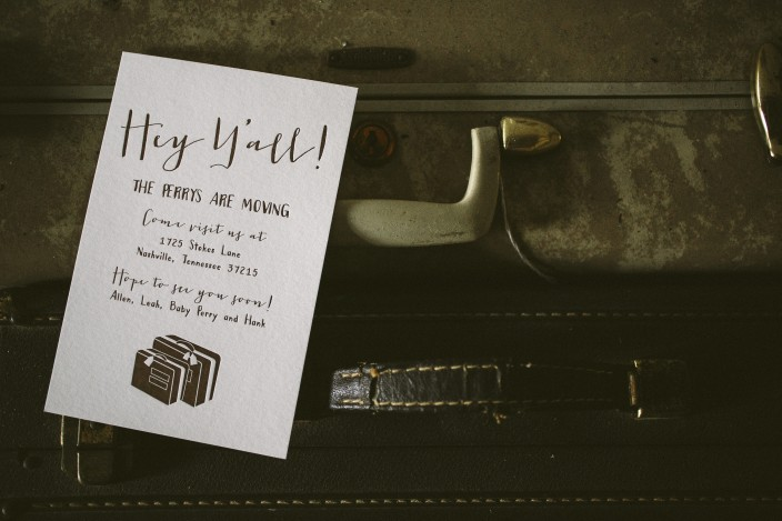 Luggage inspired letterpress moving announcements