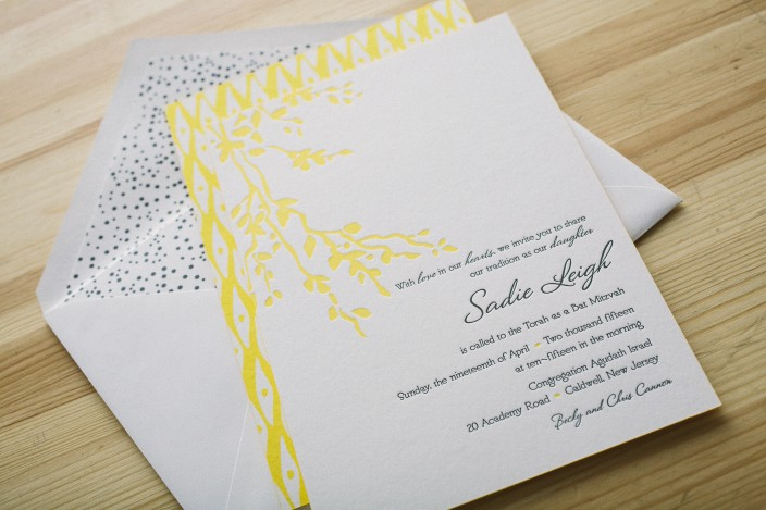 Yellow letterpress Bat Mitzvah invitations featuring Smock's Robson design