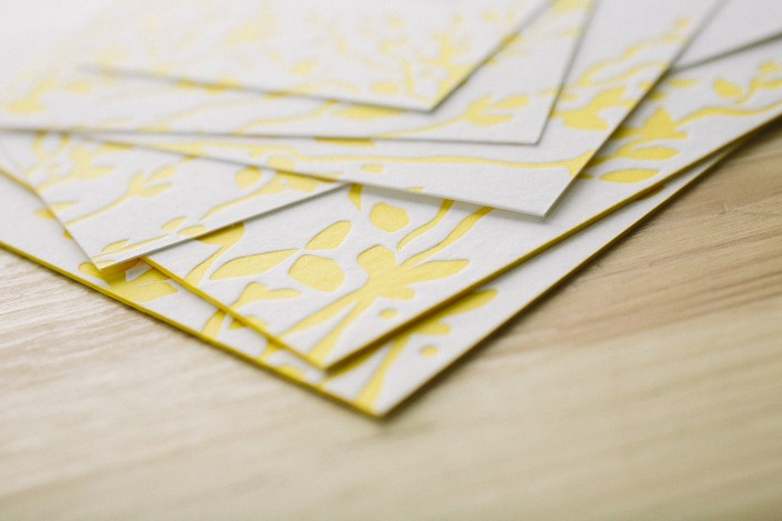Edge painting on letterpress invitations by Smock