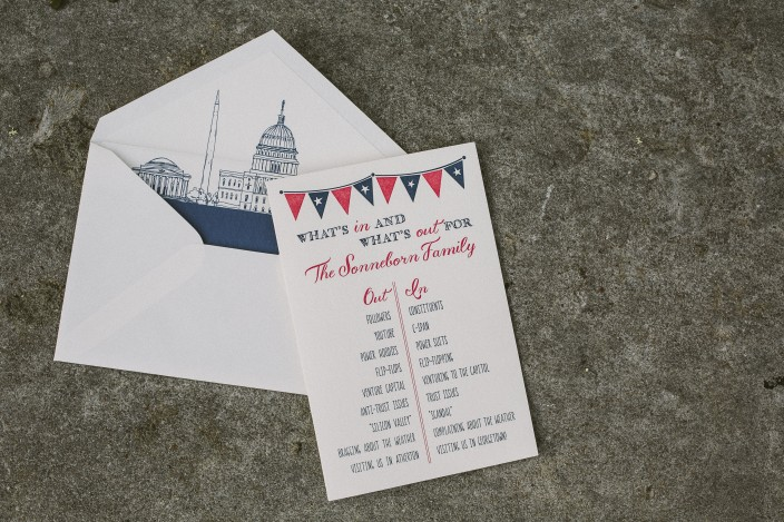Patriotic letterpress moving announcements