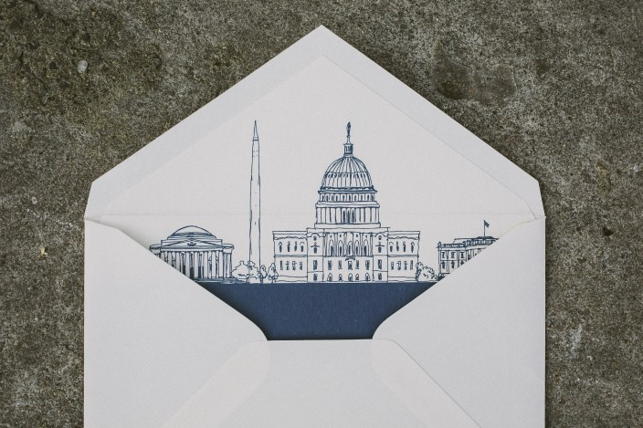 Envelope liners featuring Washington, DC landmarks