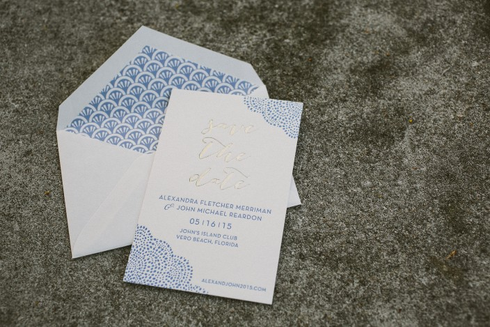 Tawny matte + cornflower letterpress save the dates from Smock