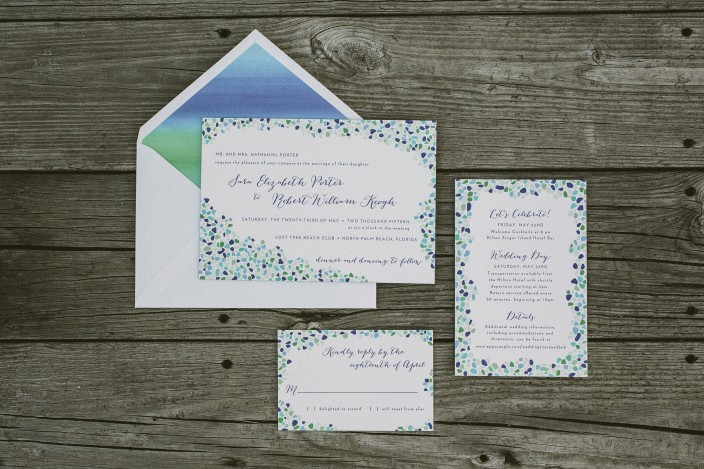Custom sea glass inspired wedding invitations from Smock