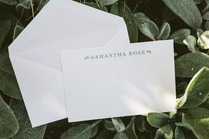 Sophisticated letterpress social notes from Smock