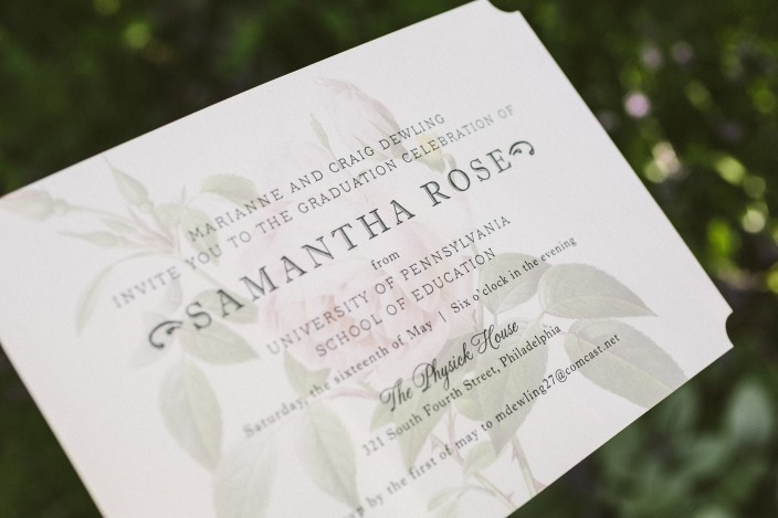 Vintage rose graduation party invitations from Smock