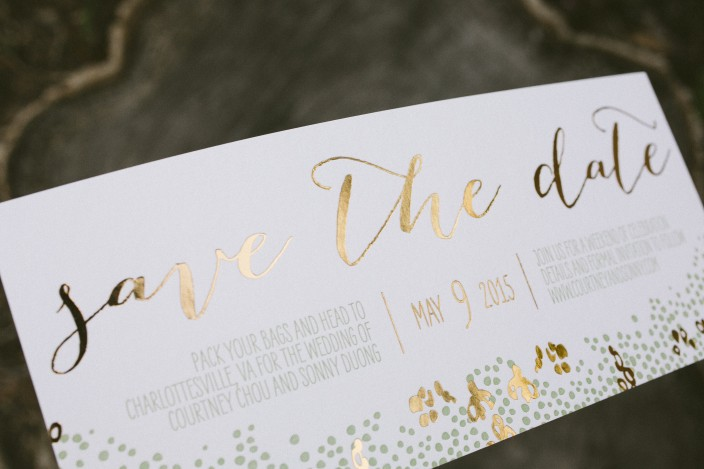Gold foil save the dates from Smock