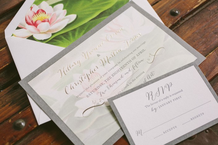 Water lily wedding invitations by Smock