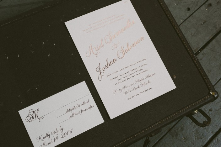 Rose gold wedding invitations from Smock