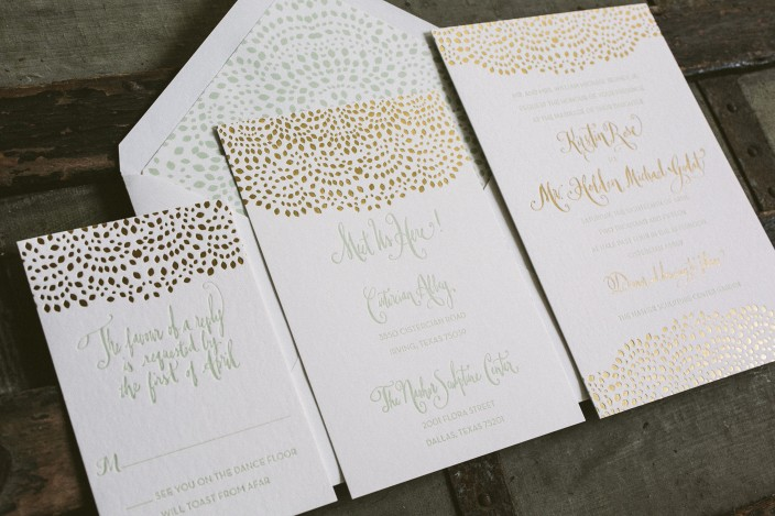 Gold Foil Stamped Wedding Invitations: Letterpress + Foil