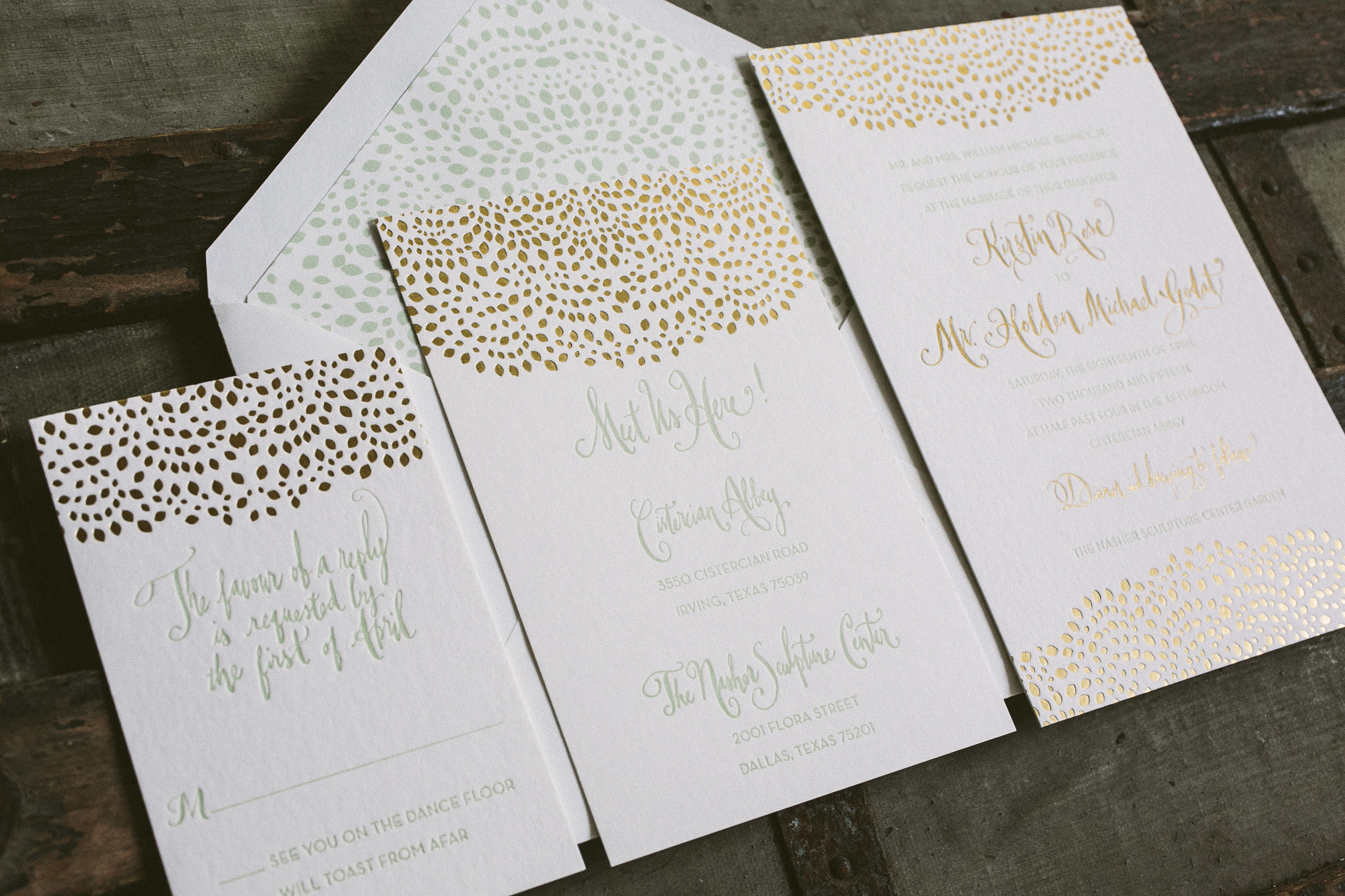 mint gold foil wedding invitation suite from smock - Mint And Gold Wedding Invitations