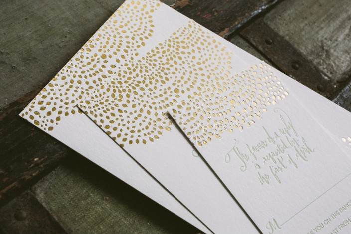 Mint + gold matte foil stamped wedding invitations from Smock