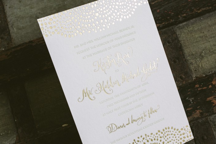 Letterpress Ink: Mint | Foil Color: Gold Matte | Font: Lawrence | Hand  Calligraphy: Submitted | Paper: 1 Ply + 2 Ply White | Size: S 8 + S 5 + S 6  ...