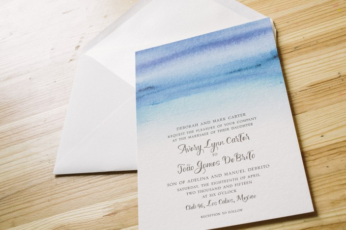 Custom watercolor wedding invitations from Smock
