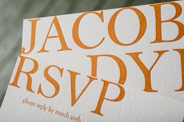 Custom orange letterpress Bar Mitzvah invitations from Smock