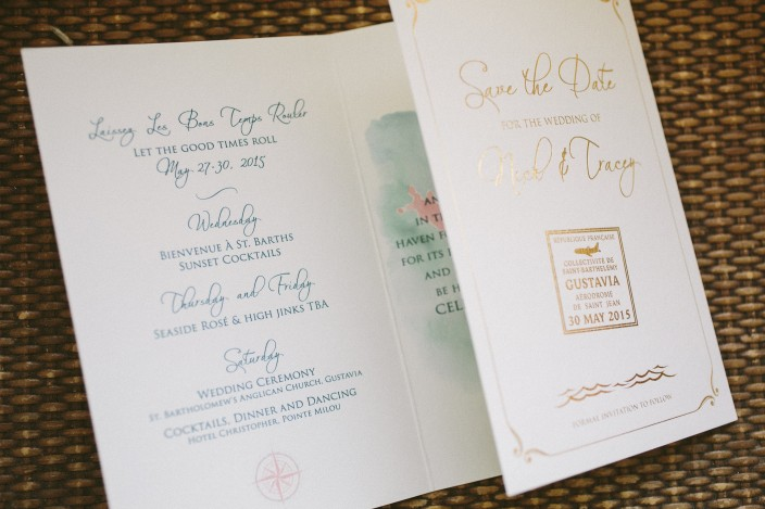 Tropical tri-fold save the dates