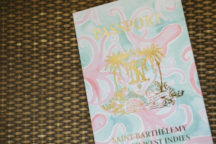 Tropical passport styled save the date