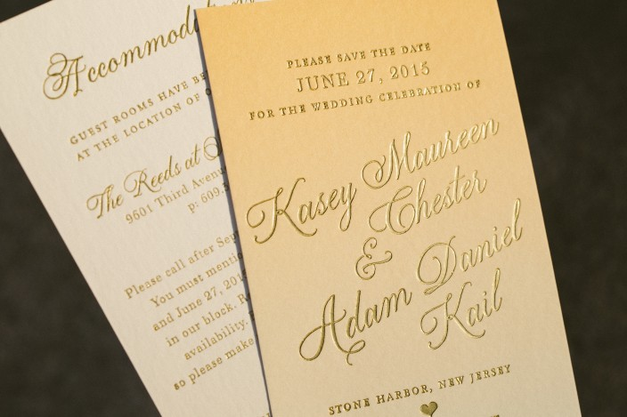 Orange ombre wedding invitations and save the dates from Smock