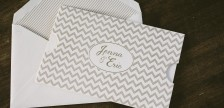 Chevron sleeve + foil stamped rehearsal dinner invitations from Smock