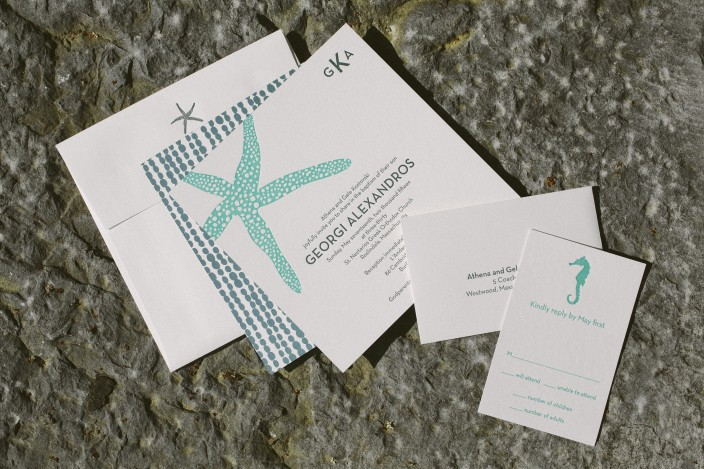 Letterpress Baptism invitations from Smock