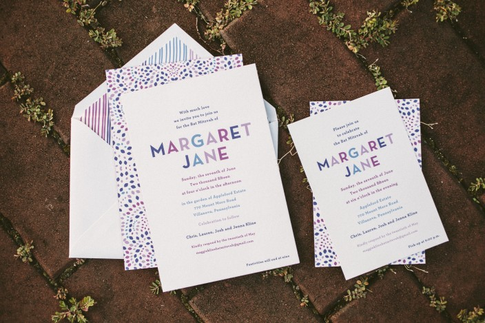 Jewel toned Bat Mitzvah invitations from Smock