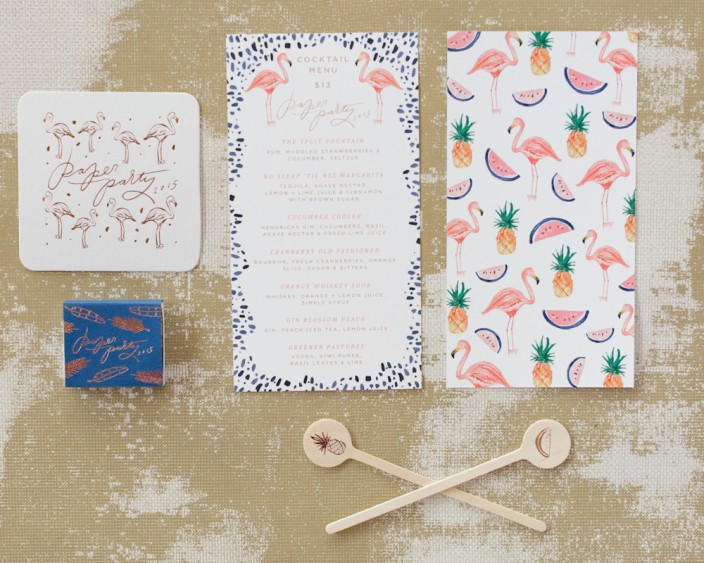 Paper Party 2015 - menus + decor