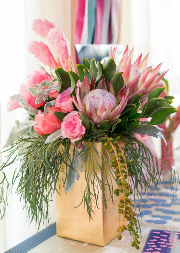 Flower arrangements at Paper Party 2015