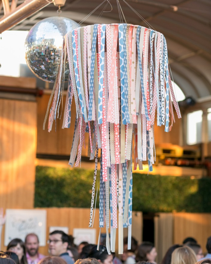 Paper Chandelier made with Smock gift wrap