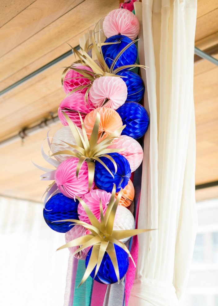 Paper Party - honeycomb, crepe paper, and paper air plant decoration clusters