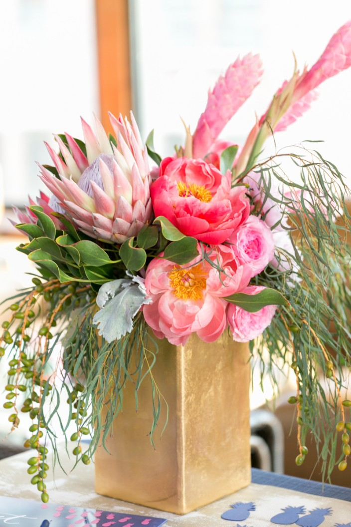 Flower arrangements at Paper Party 2015